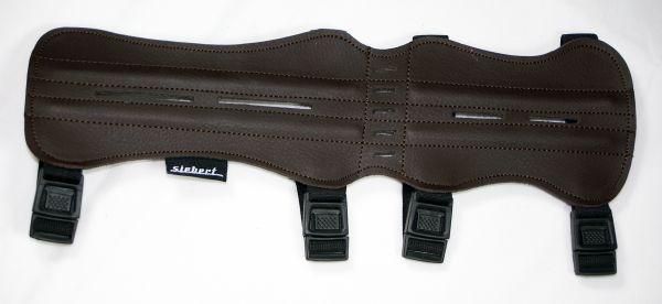 Armschutz lang aus dunkelbraunem Glattleder